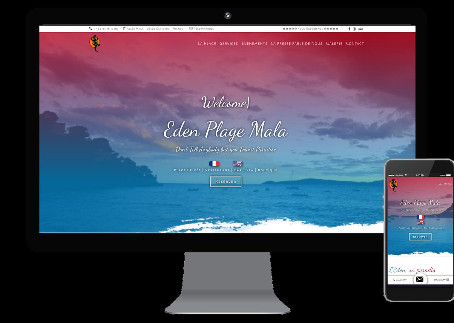 création de site internet complet orienté seo, vitrine de restaurant et plage privée dans les alpes maritimes
